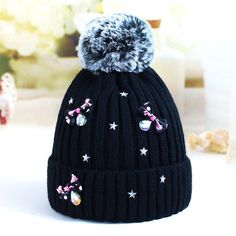 Source Lovely Bow tie Hairball Children's Caps Bonnet Beanies Knitted Hat Skullie Hats Winter Warm Girls Protect the Ears Warm Caps on m.alibaba.com