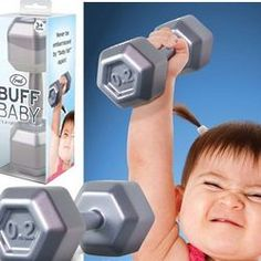 Help that little one pump some iron with this adorable dumbbell rattle!