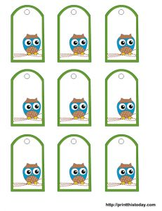 free owl baby shower favor tags printable templates