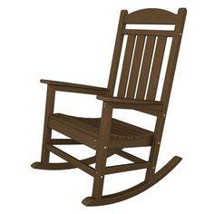 Classically designed with a contoured back and arms, the Trex Outdoor Furniture Recycled Plastic Yacht Club Rocking Chair will quickly. Plastic Rocking Chair, Outdoor Rocking Chairs, Patio Chairs, Adirondack Chairs, Desk Chairs, Room Chairs, Wooden Chairs, Lounge Chairs, Dining Chairs