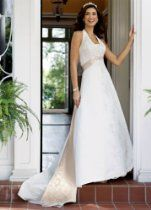 David's Bridal Wedding Dress: Petite Satin A-line Halter with Split Front Style 7T9218