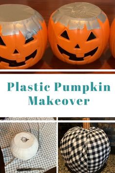These DIY pumpkins are so easy to make and they're CHEAP! Start with a trick or . - These DIY pumpkins are so easy to make and they're CHEAP! Start with a trick or treat pumpkin buc - Fabric Pumpkins, Fall Pumpkins, Plastic Pumpkins, White Pumpkins, How To Paint Pumpkins, Halloween Pumpkins, Casa Halloween, Halloween Crafts, Dollar Store Halloween
