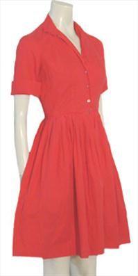 Red Cotton Rockabilly 50s Dress by NeldasVintageClothing.com  #1950s #vintage #fashion