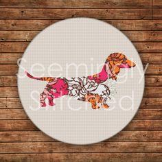 Cross Stitch Pattern  Dachshund Dog w/pattern by SeeminglyStitched, $4.50