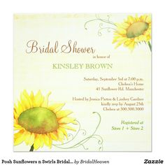 Posh Sunflowers n Swirls Bridal Shower Card Sweet autumn sunflowers (painted in watercolor), pistachio green swirls + rustic textured papyrus print illustrated on custom Bridal Shower Invitations. Unique & modern floral wedding shower cards you can easily personalize with your own wording! Feel free to change the fonts, colors & sizes of the text as well.