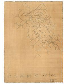 Owen Schuh, Dendrite, 2011, Graphite and Tea on Paper, 18 x 28 cm