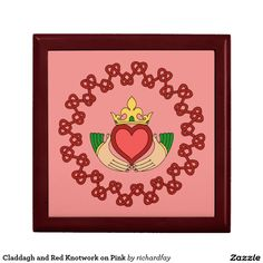 Claddagh and Red Knotwork on Pink Keepsake Box