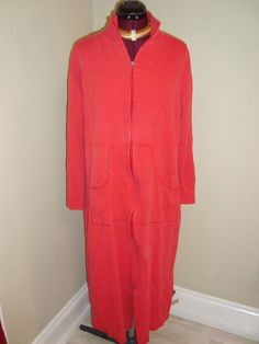 Norm Thompson Sz L Women's Red Ribbed Cotton Zip Robe W/ Pockets #NormThompson #Robes