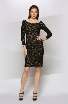 BEADED LACE OFF THE SHOULDER COCKTAIL in BLACK NUDE - Carmen Marc Valvo