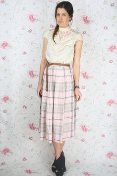 Vintage plaid skirt  pink & grey pleated swing w/ by renewvintage