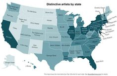 After studying the preferences of a quarter million listeners, Paul Lamere determined which artists were favored the most in each state above all others. What this says about your state is up to you to decide.