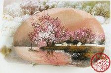 【小弦石头铺】烟雨杏花村【2】【旧作】手绘石头礼物 摆设