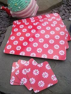 red ditsy placemats by the hiding place | notonthehighstreet.com