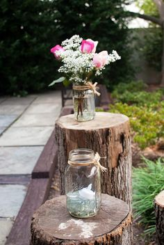 Flowers, candles, and wood. Impromptu tables.