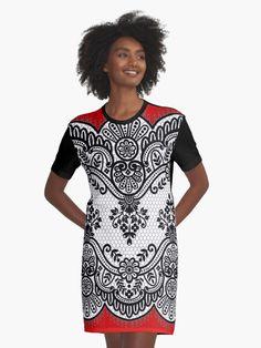 Graphic T-Shirt Dress Vintage elegant flower ornament by Annartlab T Shirt, Shirt Dress, Elegant Flowers, Red Lace, Vintage Black, Chiffon Tops, Designer Dresses, Vintage Dresses, Cold Shoulder Dress