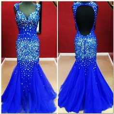 stunning royal blue beaded mermaid style prom dress with open back