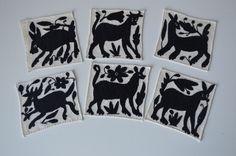 Black Embroidered animal coasters via Otomi Mexico, #Otomi #coasters #Mexico #Otomicrafts # Otomicoasters #Colorful #Mexico #MexicanCrafts #OtomiCrafts #OtomiFabric #Colorfulcoasters #BeautifulCoasters #MexicanCoasters, OTOMI MEXICO, WWW.OTOMIMEXICO.COM