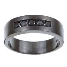 Silver and Black Rhodium Men's 3/4ct TDW Black Diamond Wedding Band