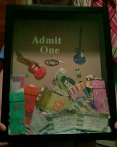 Admit One Shadow Box, great idea for all your old concert ticket stubs for memories instead of throwing them away