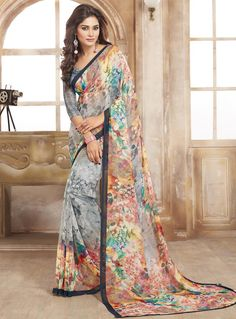 Gray Georgette Casual Wear Saree 84759