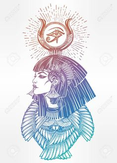 Portrait of a beautiful egyptian goddess or princess. Cleoptra or Nefertiti with winged necklace and god Ra crown on her head. Cool Tattoos, Tatoos, Egyptian Goddess, Occult, Mystic, Tatting, Royalty Free Stock Photos, Africa, Tattoo Art