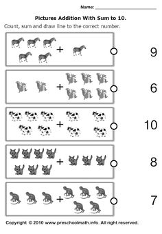 add with counters to 10 worksheet - Google Search