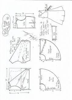 Esquema de modelagem de vestido vintage envelope tamanho 40.                                                                                                                                                                                 Mais