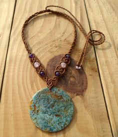 Moss agate macrame necklace macrame stone micro por SelinofosArt