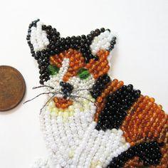 Gemstone Beaded Calico Cat Brooch