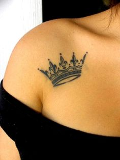 Simple beauty of a crown tattoo on a girls  shoulder. For more cool and finest tattoos, visit www.tattooenigma.com