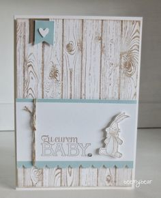Stampin' Up! stamp set hardwood, stampin with beemybear: Babykarte