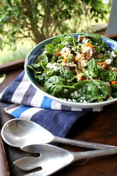 Quinoa Salad with Sweet Potato, Spinach, Roasted Eggplant and Feta