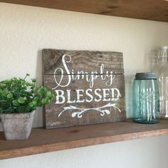 Hand painted sign made with rustic reclaimed wood. Request a custom order for other sizes Please be sure to order by signs Items similar to wooden blessed sign on Etsy Pallet Art, Pallet Signs, Pallet Ideas, Pallet Painting, Diy Pallet, Wood Projects, Craft Projects, Projects To Try, Craft Ideas