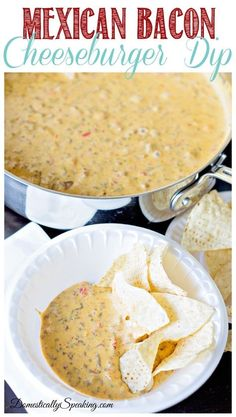 Mexican Bacon Cheeseburger Dip - perfect game day appetizer loaded with cheese & bacon - delicious for your football watching!