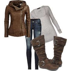 fall outfit. Love the boots.