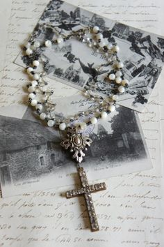 Provence Love-Vintage assemblage necklace by frenchfeatherdesigns on etsy