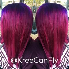 Layered Magenta Hairstyle With Blue Roots