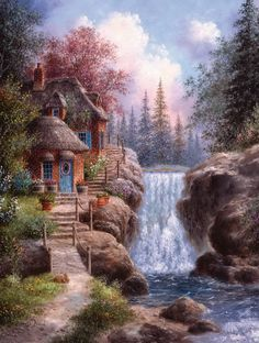 0_af94d_eb07af75_orig.jpg (840×1112) Home Art, Thomas Kinkade, Art Drawings, Waterfall House, Belle Image Nature, Kinkade Paintings, Cottage Art, 1000 Piece Jigsaw Puzzles, Landscape