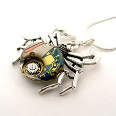 Hybrid Spider pendant - quartz watch & mechanical watch parts spider