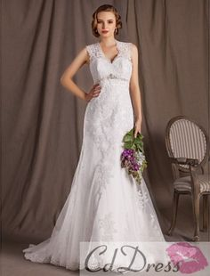 Gorgeous A-line Princess V-neck Court Train Lace Satin And Tulle Wedding Dress from CDdress.com