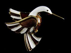 Exquisite Boucher Brooch Enameled Hummingbird Signed by hipcricket, $80.00