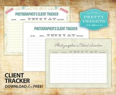 NEW! 3 Free Client Tracker Worksheet for Photographers.