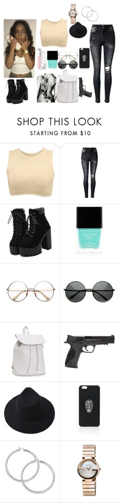 """""""Anon OC:Juni Nirvana"""" by the-nobody ❤ liked on Polyvore featuring Kosher Casual, Butter London, Aéropostale, Smith & Wesson, Philipp Plein and Gucci"""