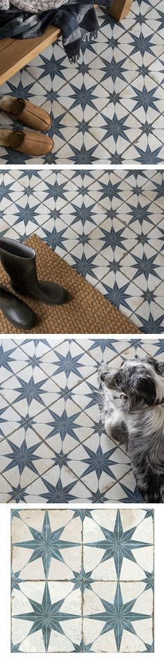 Create a statement floor in your bathroom, kitchen, hallway or lounge with these striking Scintilla Sapphire Tiles. They have a vintage monochrome design, with aged-effect blue and white star shaped patterns. Made from durable ceramic, these tiles have a matt finish with a grid scored into the surface, which you grout into. They're perfect for creating a vintage scheme in an interior space.