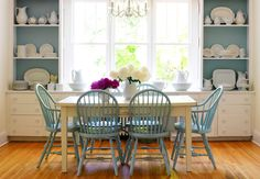 Cottage dining room- the built-ins with the blue reminds me of my grandparents old house