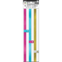 Stylishly secure the contents and pages of your Happy Planner with these colorful elastic bands.Each package includes 3 elastic bands. 1 pink 1 blue 1 gold