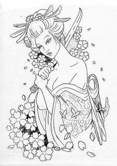Geisha line art Geisha Tattoos, Tatoo Geisha, Geisha Drawing, Geisha Art, Japanese Drawings, Japanese Tattoo Designs, Japanese Tattoo Art, Samurai Tattoo, Samurai Art