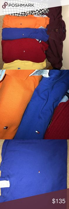Tommy Hilfiger shirts & 1 POLO 5 tommy H shirts  and one polo. SIZES range from XL(2)  L(1)  Medium (2) Tommy Hilfiger Shirts
