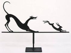 Hound and Hare weathervane by Wilhelm Hunt Diederich. For sale at D. Wigmore…