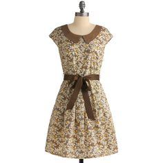 Miss Patina Awning Of Leaves Dress (1,060 MXN) ❤ liked on Polyvore featuring dresses, vestidos, brown, women, brown cotton dress, holiday dresses, peter pan collar dress, brown cocktail dress and cocktail dresses